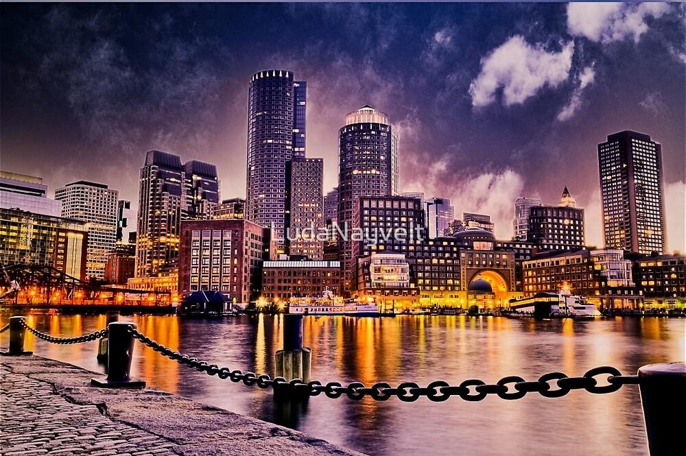 Skyline of Boston Harbor  by LudaNayvelt