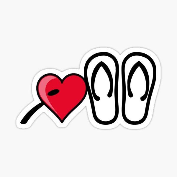 I heart I love flip flops sandals Sticker