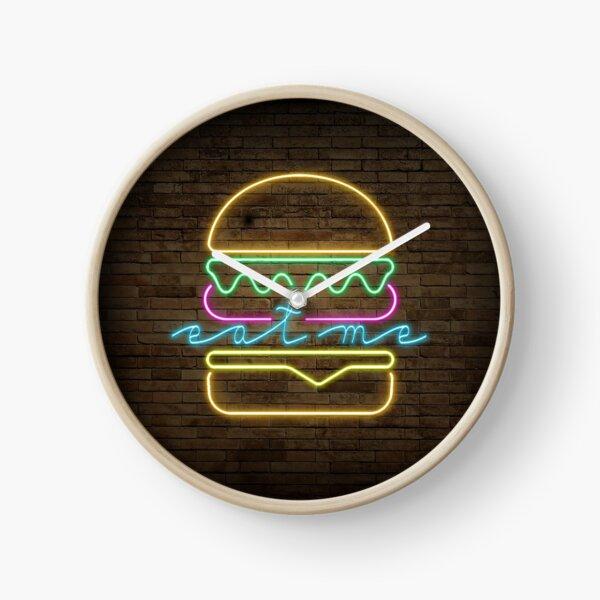 Eat Me Burger Neon Sign Clock
