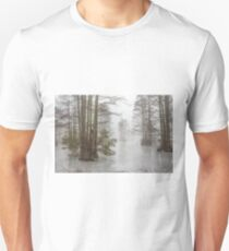 Frozen Cypress Swamp in Fog Unisex T-Shirt