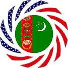 Turkmen American Multinational Patriot Flag Series by Carbon-Fibre Media