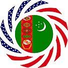 Turkmen American Multinational Patriot Flag Series by Carbon-Fibre Media