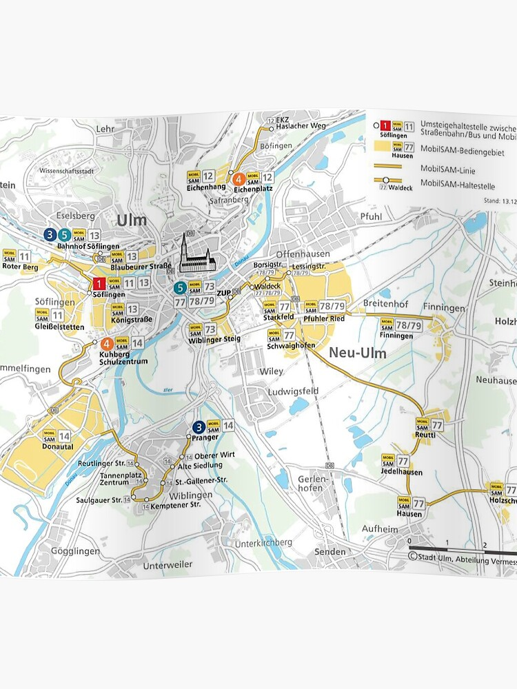 Map Of Germany Ulm.Ulm Neu Ulm Network Map Germany Hd Germany Hd Poster