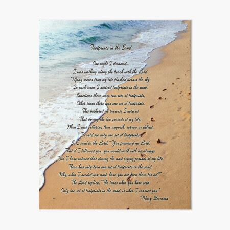 FootPrints in the Sand Art Board Print