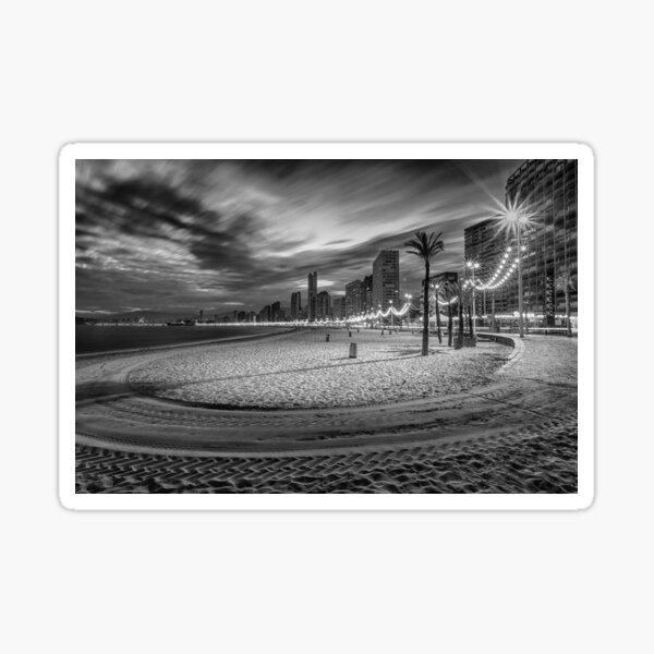 Playa de Benidorm Levante en la noche Pegatina