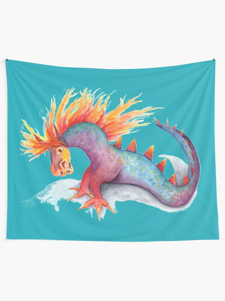 Alternate view of Rainbow dragon snake watercolor Tapestry
