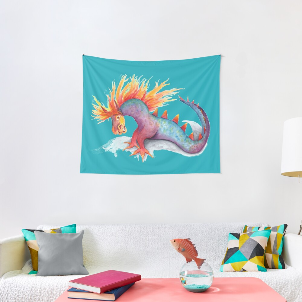 Rainbow dragon snake watercolor Tapestry