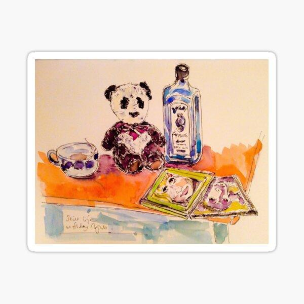 Panda with gin on Friday night Sticker