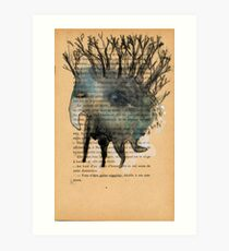 Tree Head Monoprint Monster Art Print
