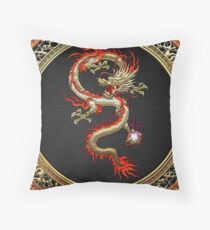 Golden Chinese Dragon Fucanglong on Black  Throw Pillow