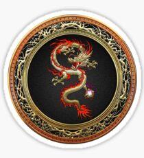 Golden Chinese Dragon Fucanglong on Black  Sticker