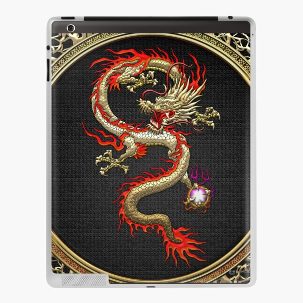 Golden Chinese Dragon Fucanglong on Black  iPad Skin