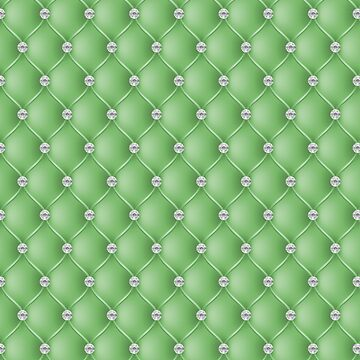 Elegant Jade Green Diamond Tufted Look Upholstery Pattern by jollypockets