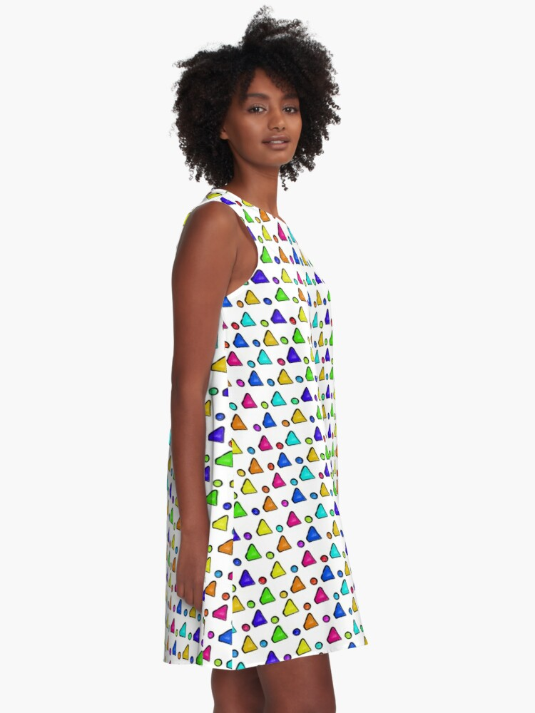 Alternate view of Colorful Geometric A-Line Dress
