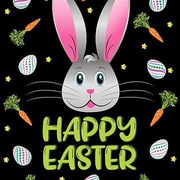 Happy Easter Bunny Rabbit Egg Hunt Funny Bunny Face by ZNOVANNA