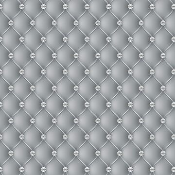 Elegant Silver Diamond Tufted Look Upholstery Pattern by jollypockets