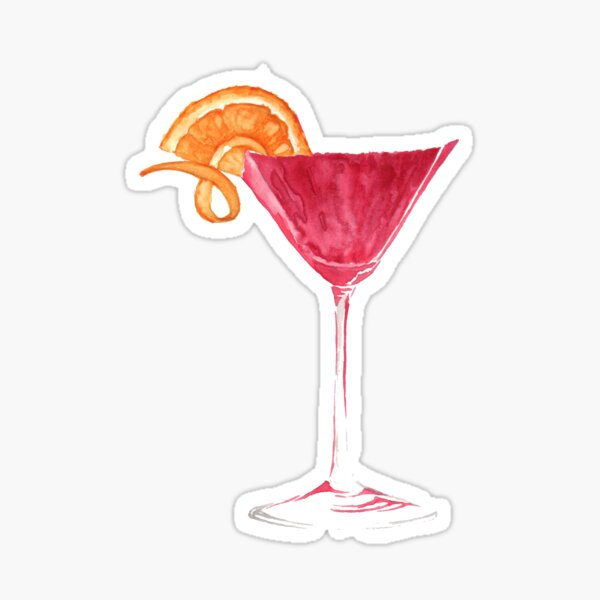 Cosmopolitan Watercolour Cocktail Sticker