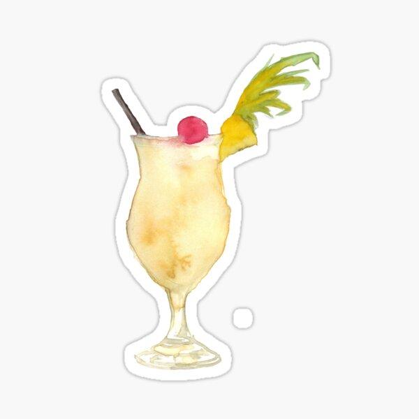 Pina Colada Watercolour Cocktail Sticker