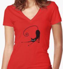 Black cat silhouette Women's Fitted V-Neck T-Shirt