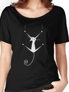 White cat silhouette Women's Relaxed Fit T-Shirt