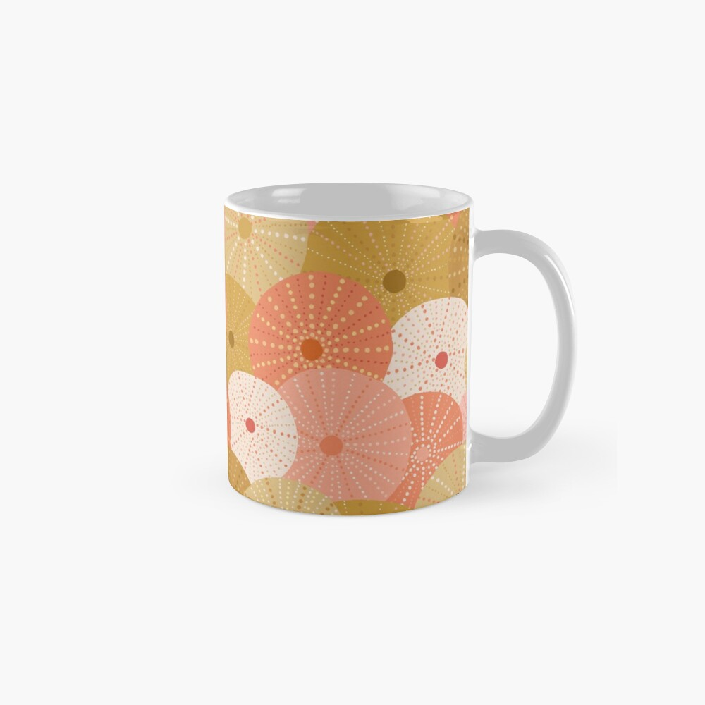 Sea Urchins in Gold + Coral Mug