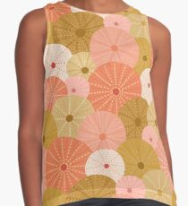 Sea Urchins in Gold + Coral Sleeveless Top