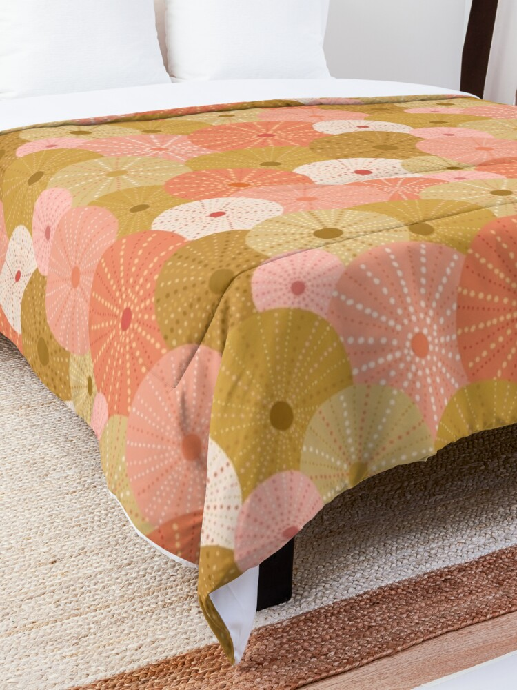 Alternate view of Sea Urchins in Gold + Coral Comforter