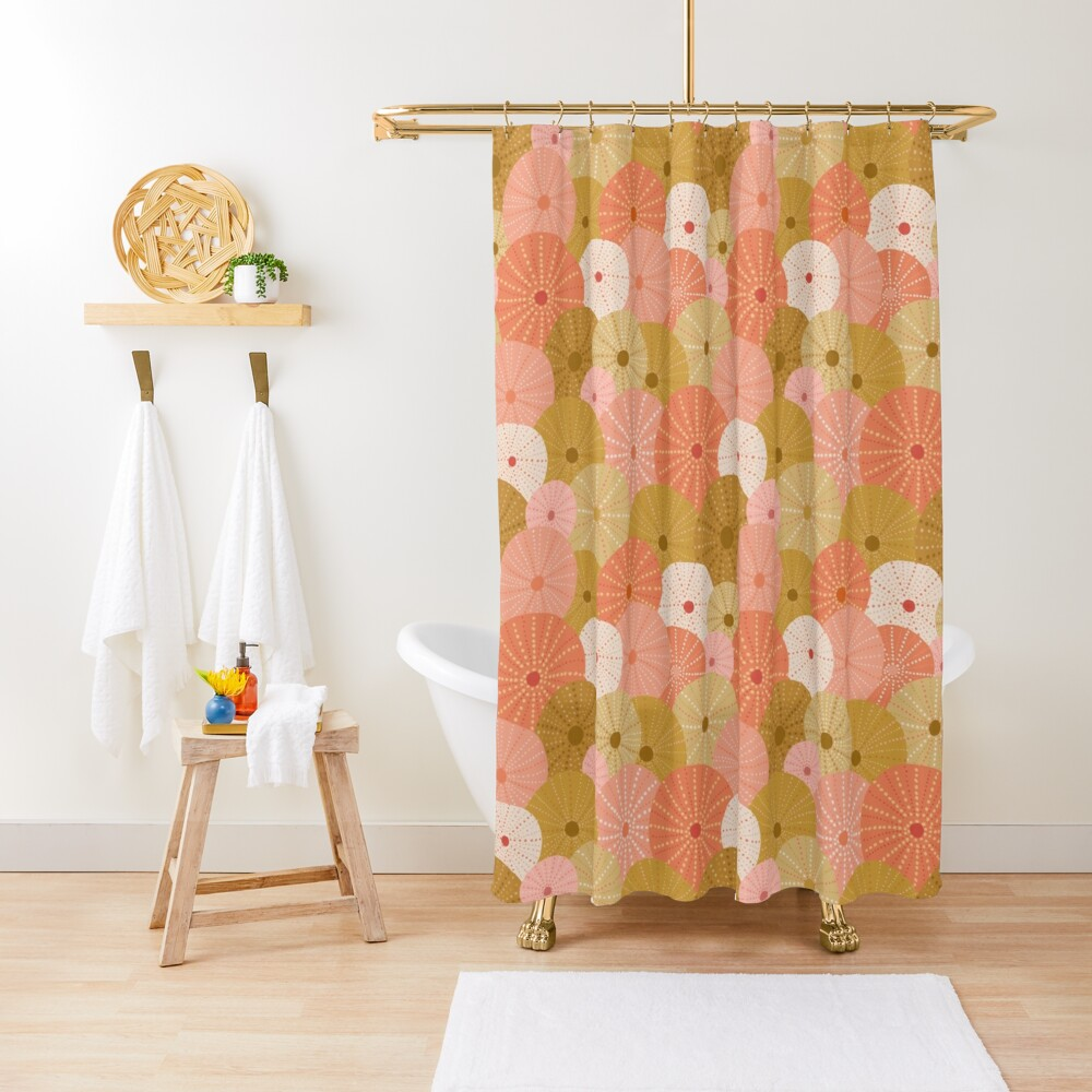 Sea Urchins in Gold + Coral Shower Curtain