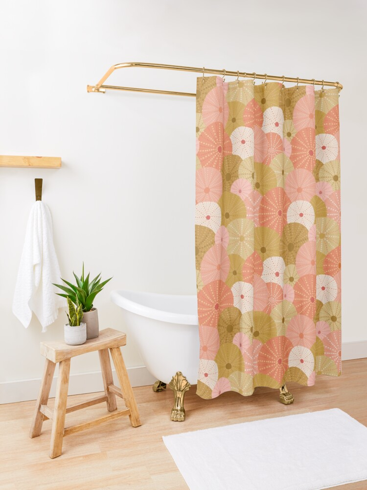 Alternate view of Sea Urchins in Gold + Coral Shower Curtain
