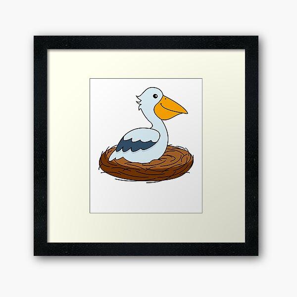 Pelican in the nest Framed Art Print