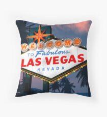 Fabulous Las Vegas Sign Night Version Retro Neon  Throw Pillow