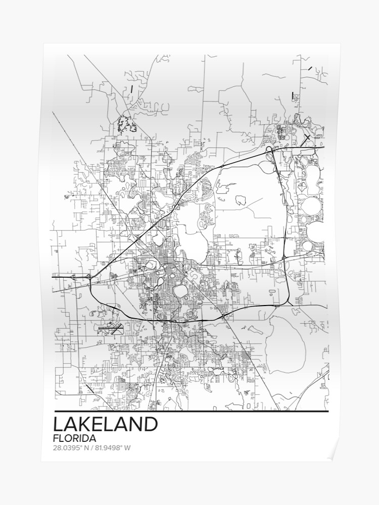 image regarding Printable Florida Map named Lakeland map poster print wall artwork, Florida reward printable, Dwelling and Nursery, Ground breaking map decor for business, Map Artwork, Map Items Poster