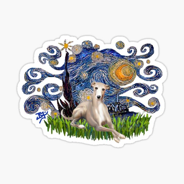 Starry Night Free Form with a Fawn Whippet (lying down) Sticker