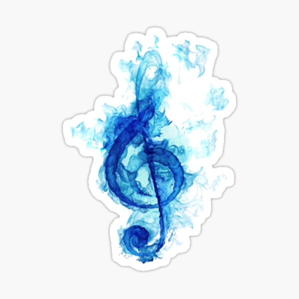 blue flaming note Sticker