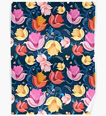 pattern of flowers tulips Poster
