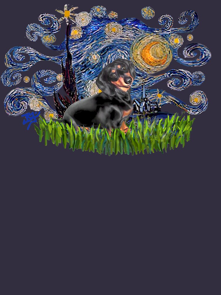 Starry Night Free Form with a Black & Tan Dachshund by JeanBFitzgerald