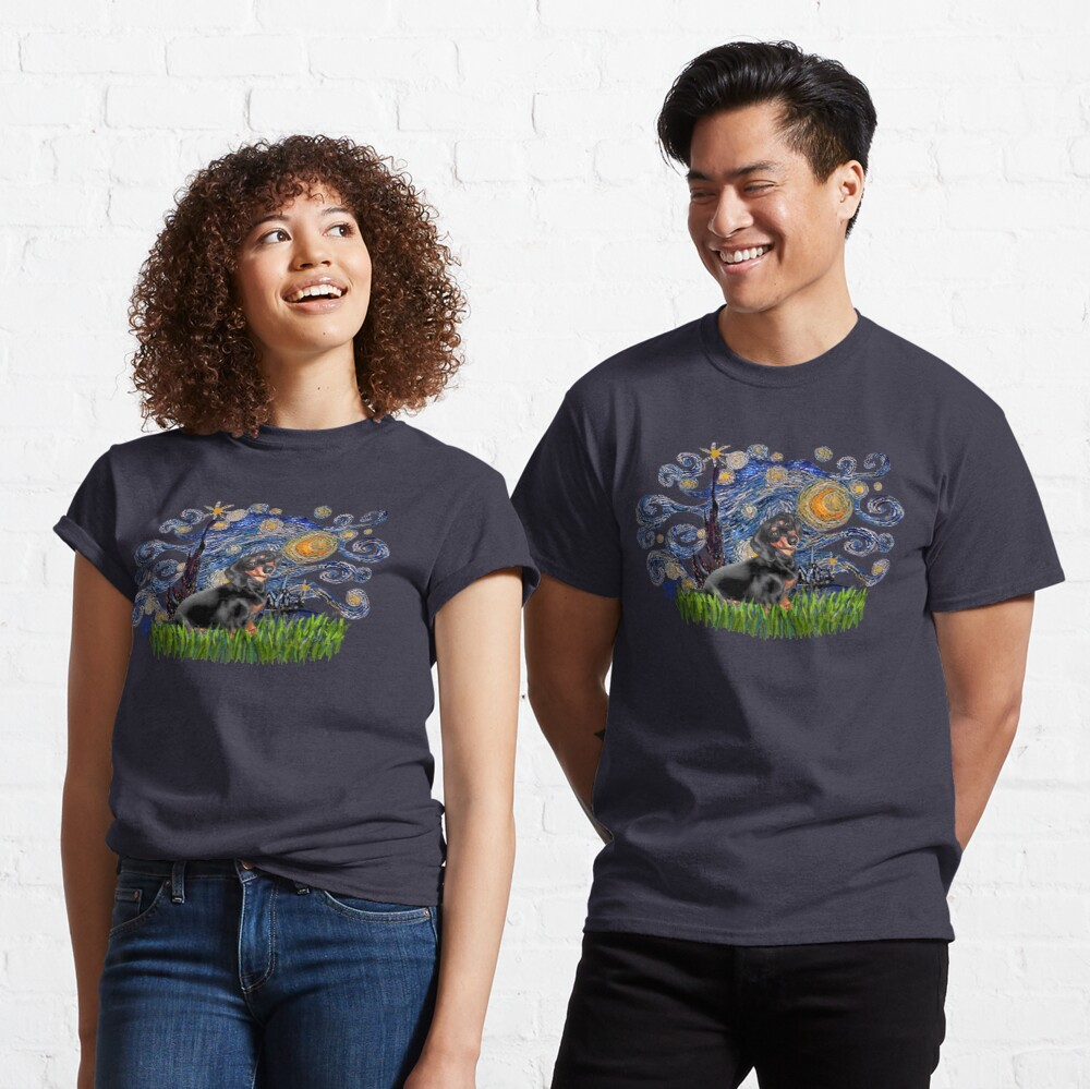 Starry Night Free Form with a Black & Tan Dachshund Classic T-Shirt