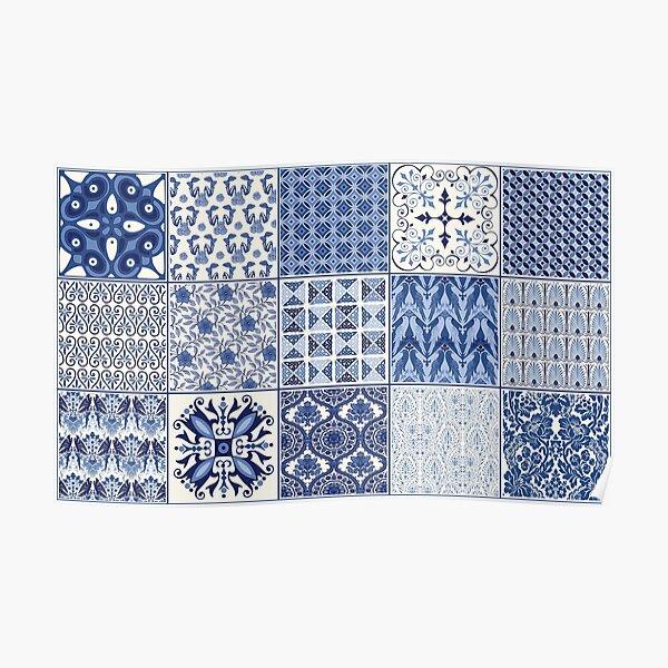 Blue Quilt Blocks Poster
