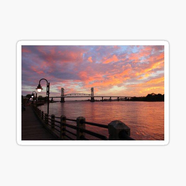 Cape Fear Bridge Sunset Sticker