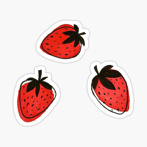 Watercolor Strawberries Sticker