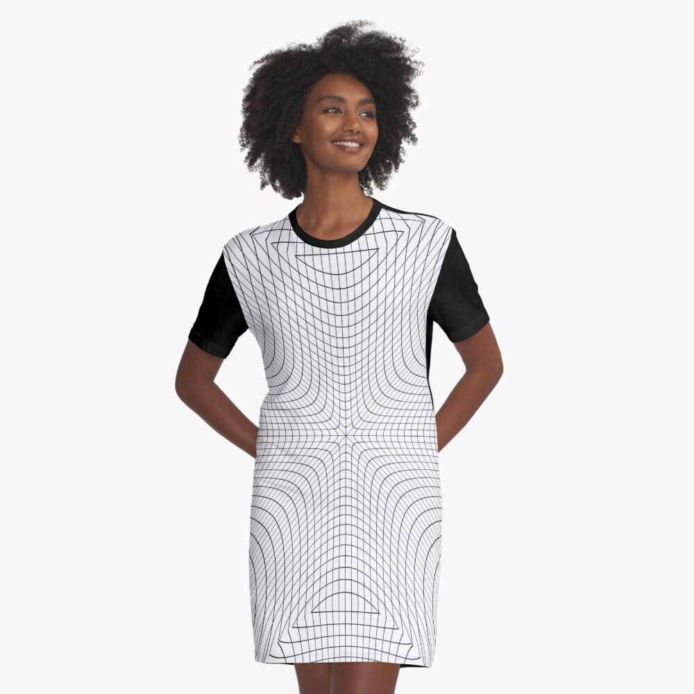 #Abstract, #pattern, #texture, #design, mesh, blue, grid, technology, white, metal, wallpaper Graphic T-Shirt Dress