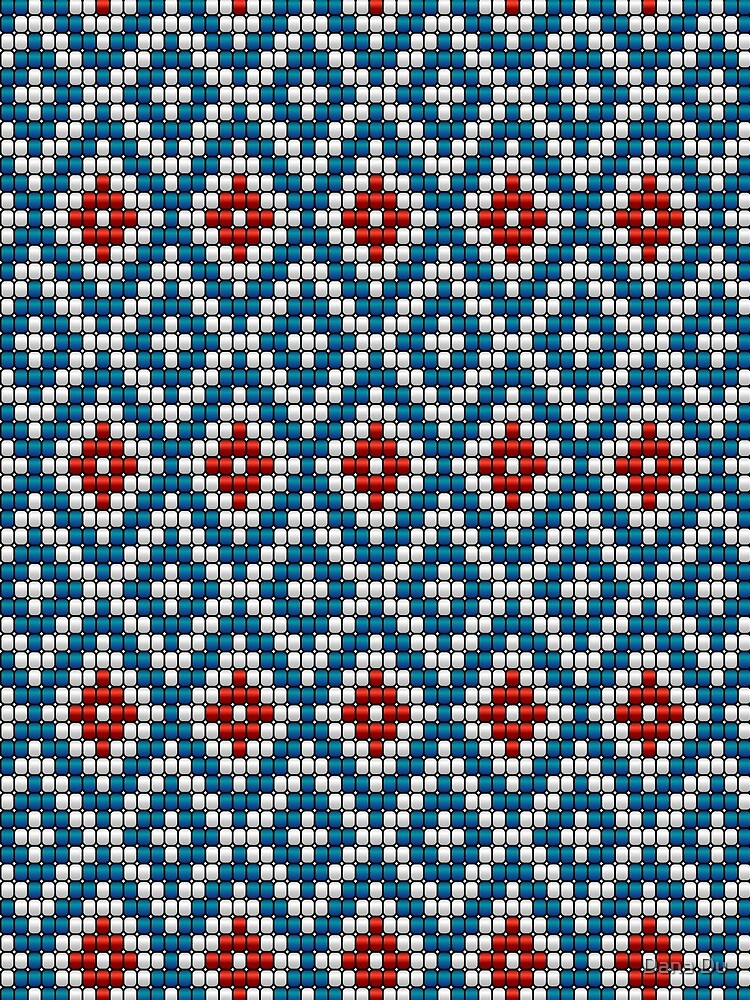 Ethnic beaded motif blue & red by danadudesign