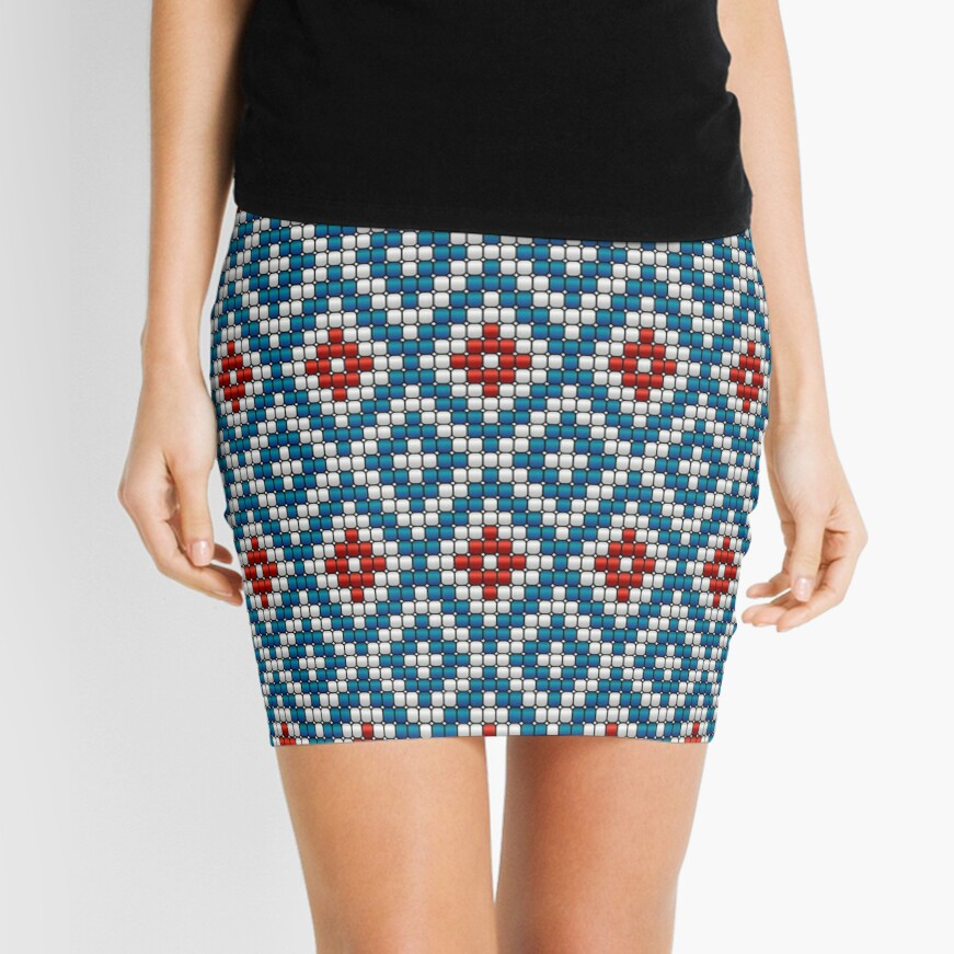 Ethnic beaded motif blue & red Mini Skirt
