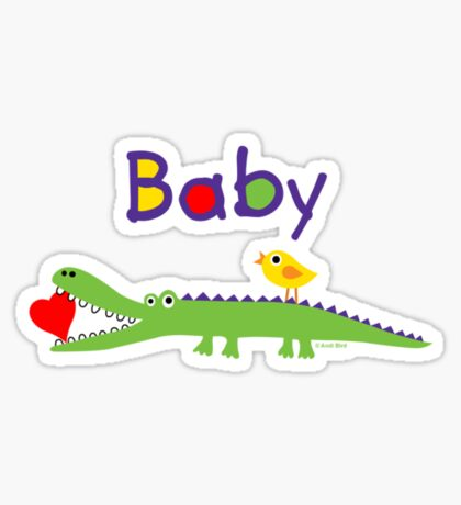 crocodile heart and chick for baby & kids Sticker