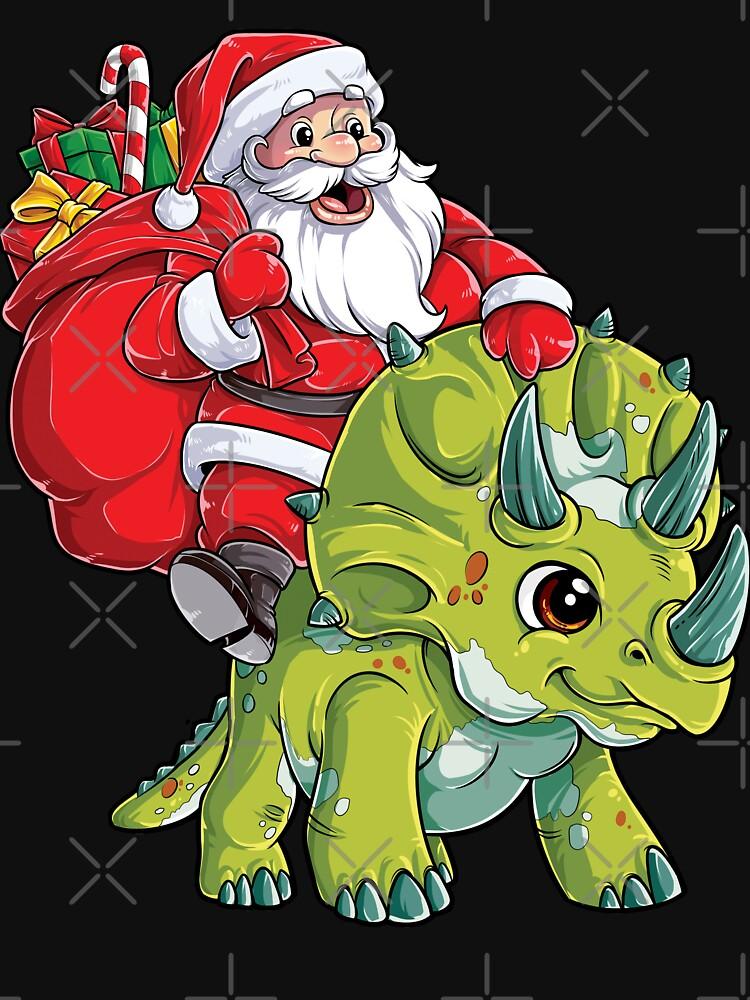 Weihnachtshemden für Jungen Santa Dinosaur Triceratops Gifts von LiqueGifts