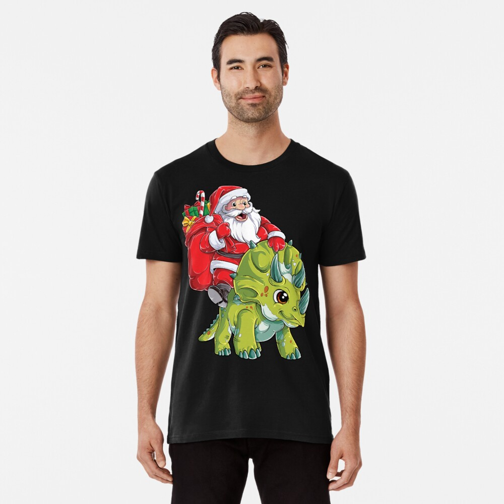Weihnachtshemden für Jungen Santa Dinosaur Triceratops Gifts Premium T-Shirt