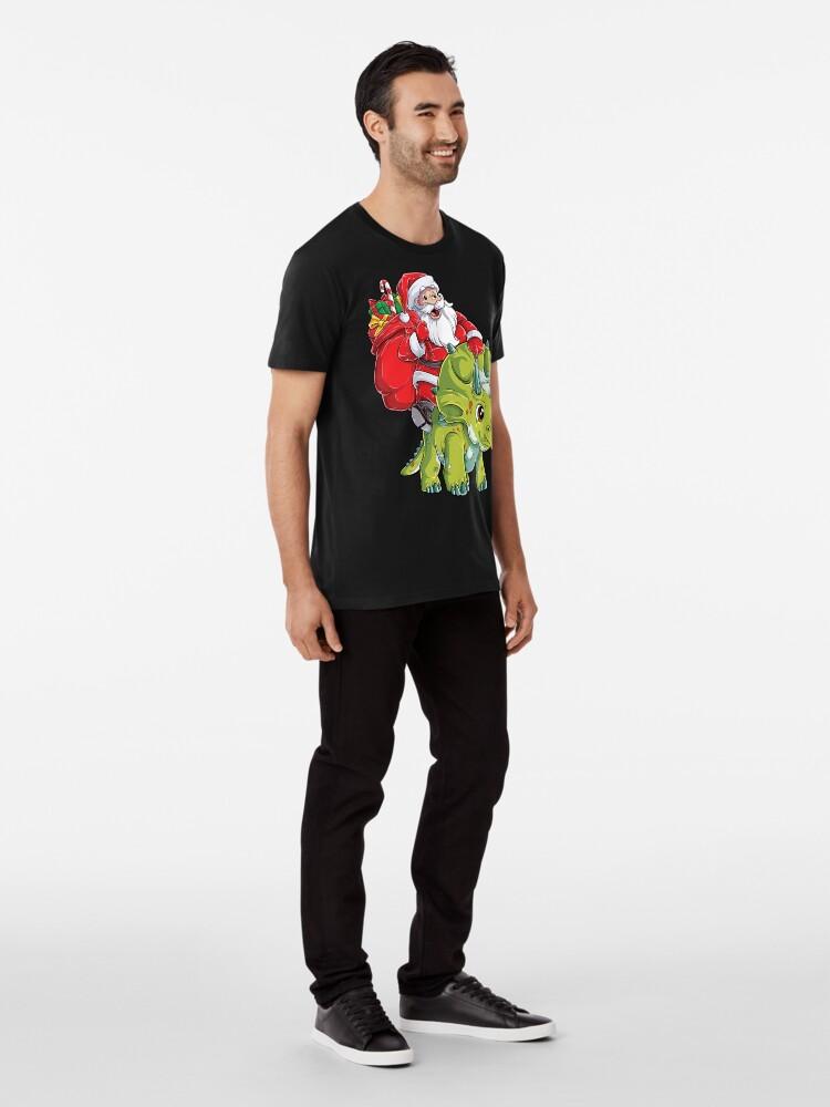 Alternative Ansicht von Weihnachtshemden für Jungen Santa Dinosaur Triceratops Gifts Premium T-Shirt