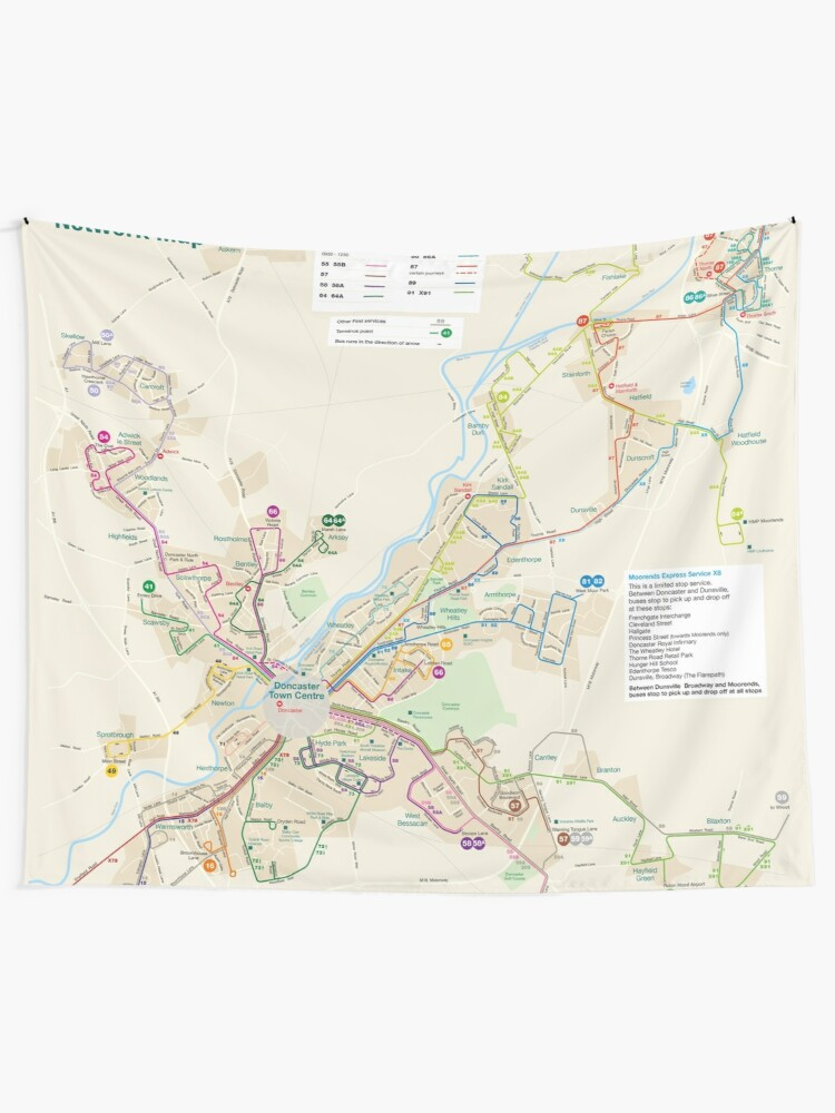Map Of Uk Hd.Yorkshire Doncaster Bus Map England Uk Hd Wall Tapestry