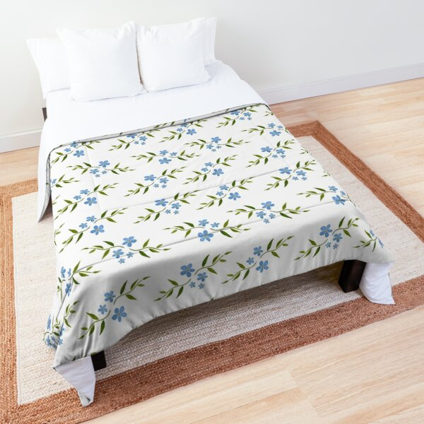 Watercolor flower pattern 4/4. Blue version Comforter