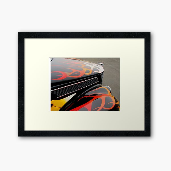 1937 Ford Coupe Old School Hotrod with Flames - Flamed out! Framed Art Print